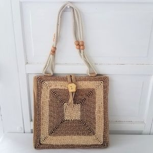 Vintage Raffia Purse Bag Square Made in Italy